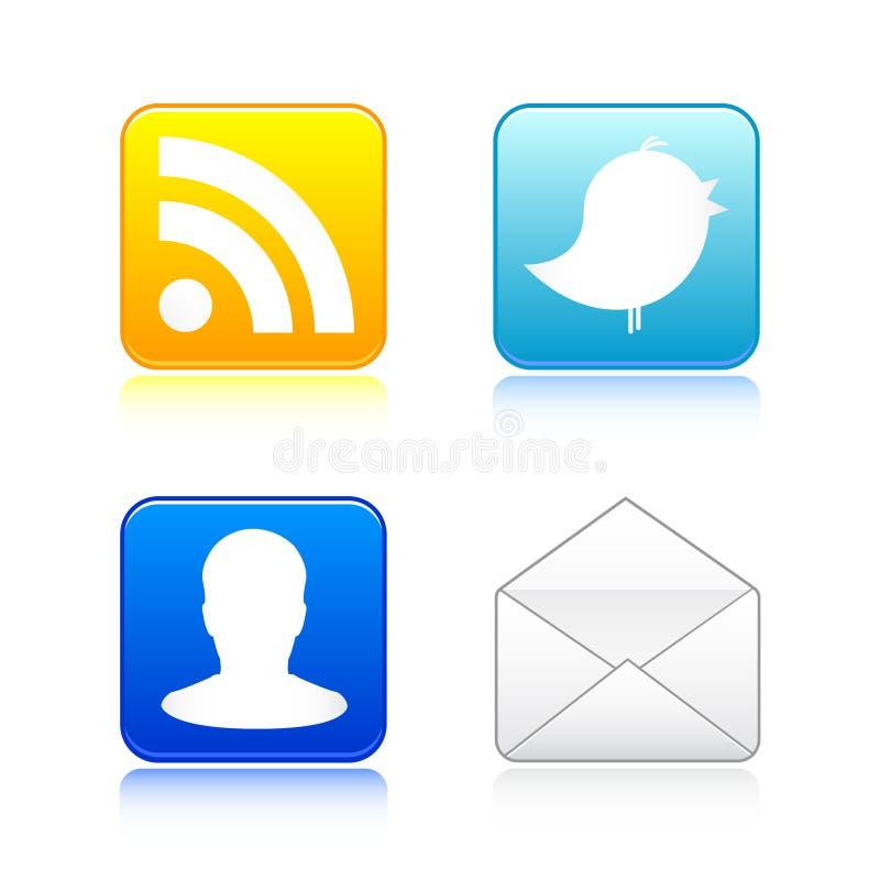 Grandes ícones sociais ilustração stock