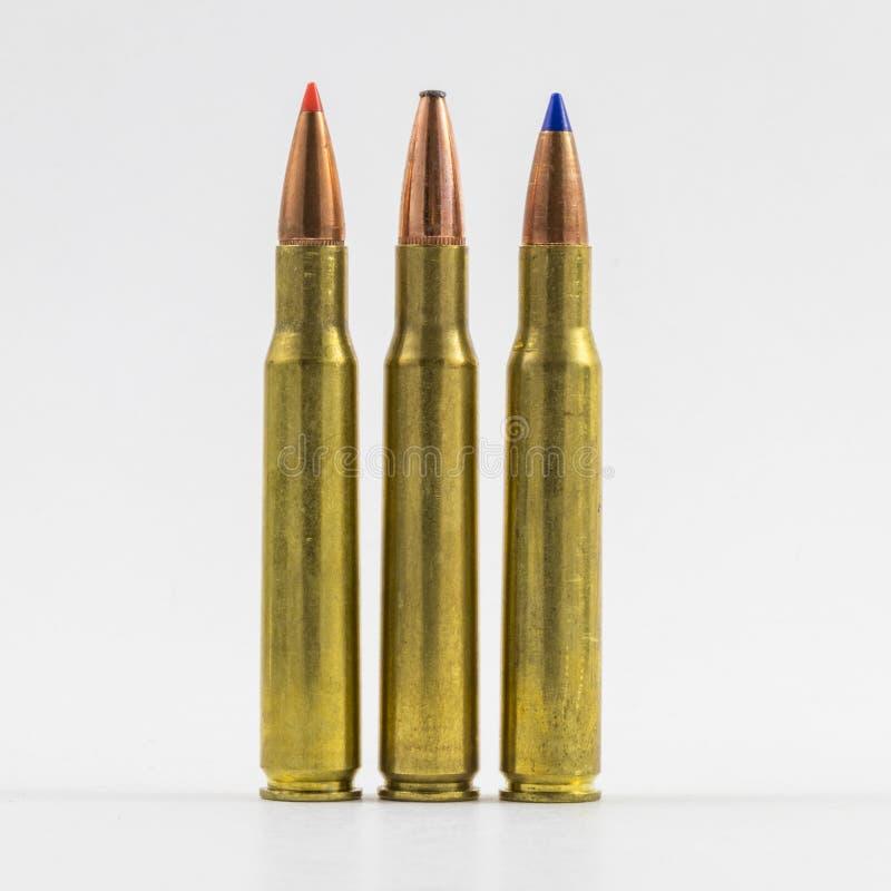 Grandes balles de calibre trois types photos stock