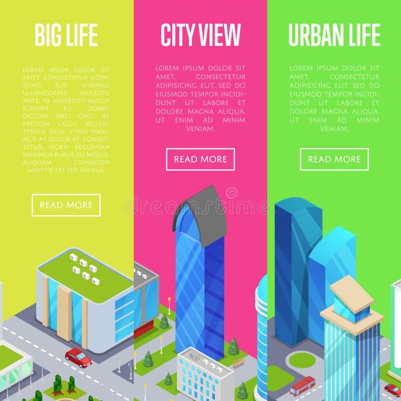Grandes bannières de la vie de ville réglées illustration de vecteur