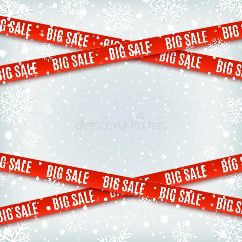 Grandes bannières de rouge de vente Ensemble de dispositifs avertisseurs, rubans sur le fond d'hiver illustration libre de droits