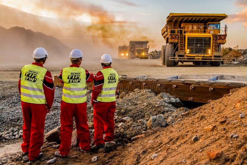 Grandes caminhões basculantes que transportam o minério da platina para processar com os inspetores da segurança de mineração no  foto de stock royalty free