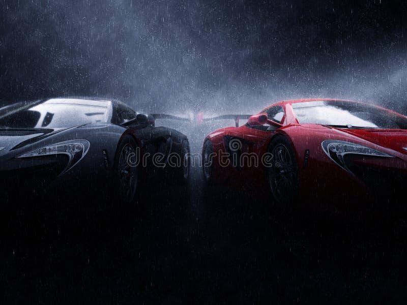 Grandes carros super pretos e vermelhos de lado a lado na chuva ilustração stock