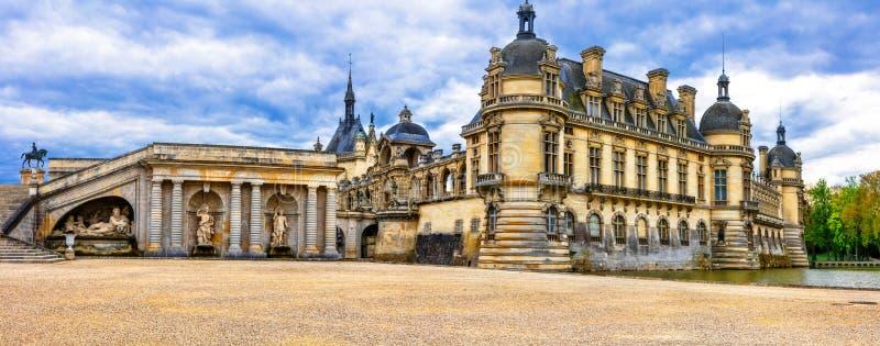Grandes castelos de França Castelo de Chantilly do palácio real fotografia de stock