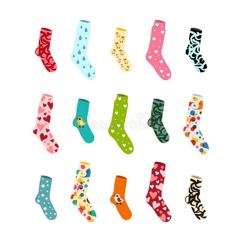 Grandes chaussettes d'ensemble pour toutes les occasions et actions illustration stock