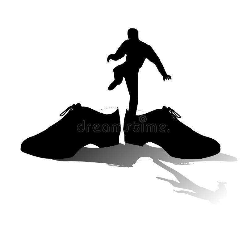 Grandes chaussures pour remplir silhouette illustration stock