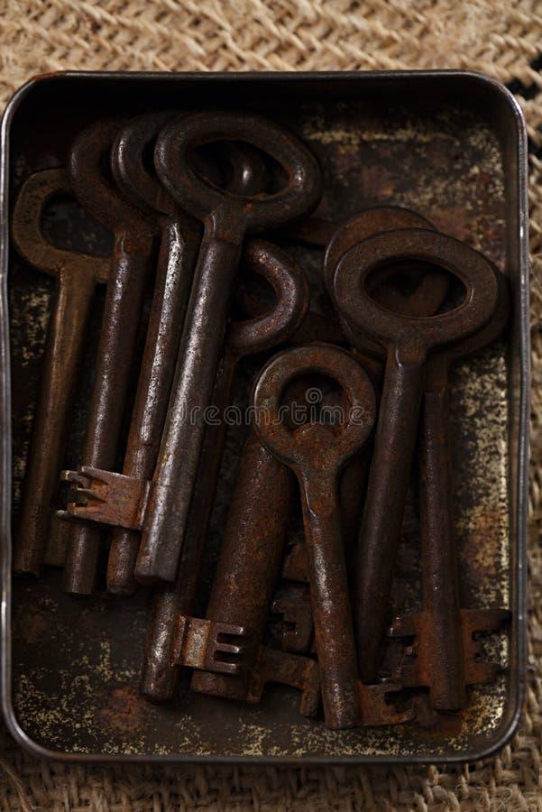 Grandes chaves oxidadas do metal do vintage na lata imagem de stock