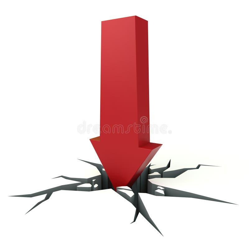 Grandes coupures rouges de flèche par la terre illustration de vecteur