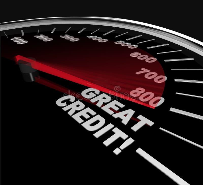 Grandes cuentas de crédito - números en el velocímetro stock de ilustración