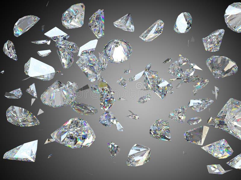 Grandes diamantes ou pedras preciosas quebradas e quebradas ilustração stock