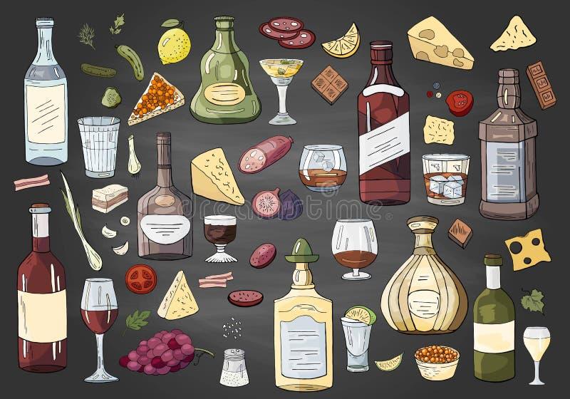 Grandes différentes bouteilles et boissons tirées par la main d'alcool sur le fond noir L'alchol de vecteur boit la collection illustration stock