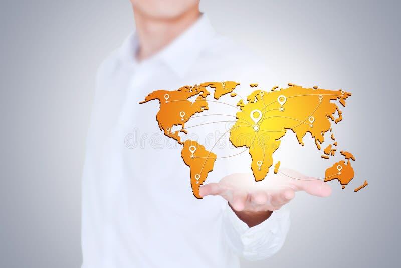 Grandes données dans le monde dans des vos mains, le concept de la carte créative image stock