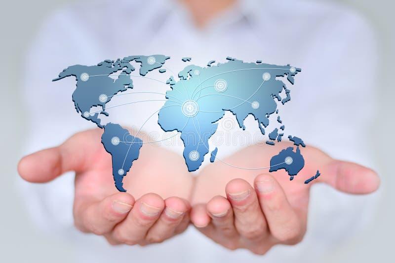 Grandes données dans le monde dans des vos mains, le concept de la carte créative images stock