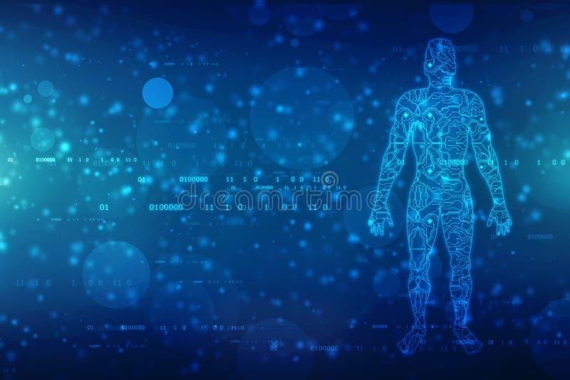 Grandes données et concept d'intelligence artificielle, contour d'hommes avec la carte et flux de données binaires sur le fond de illustration de vecteur