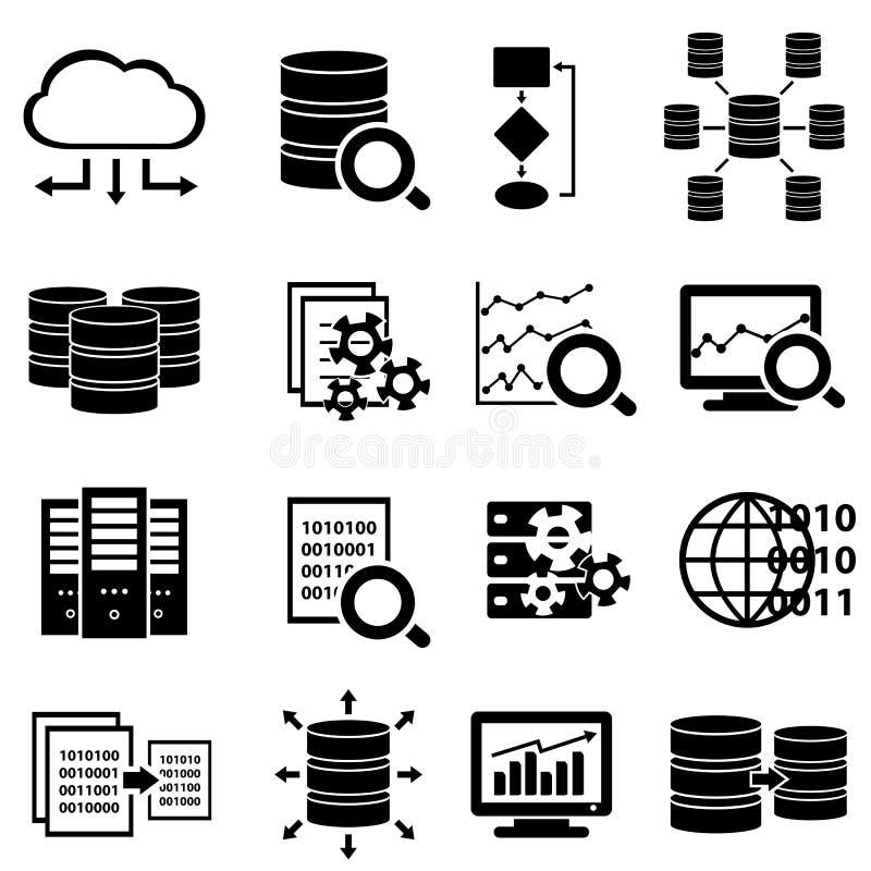Grandes données et icônes de technologie illustration stock