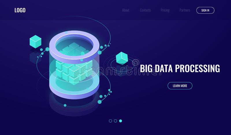 Grandes données isométriques, la science de la technologie numérique, pièce de serveur, datacenter d'icône de base de données, il illustration de vecteur