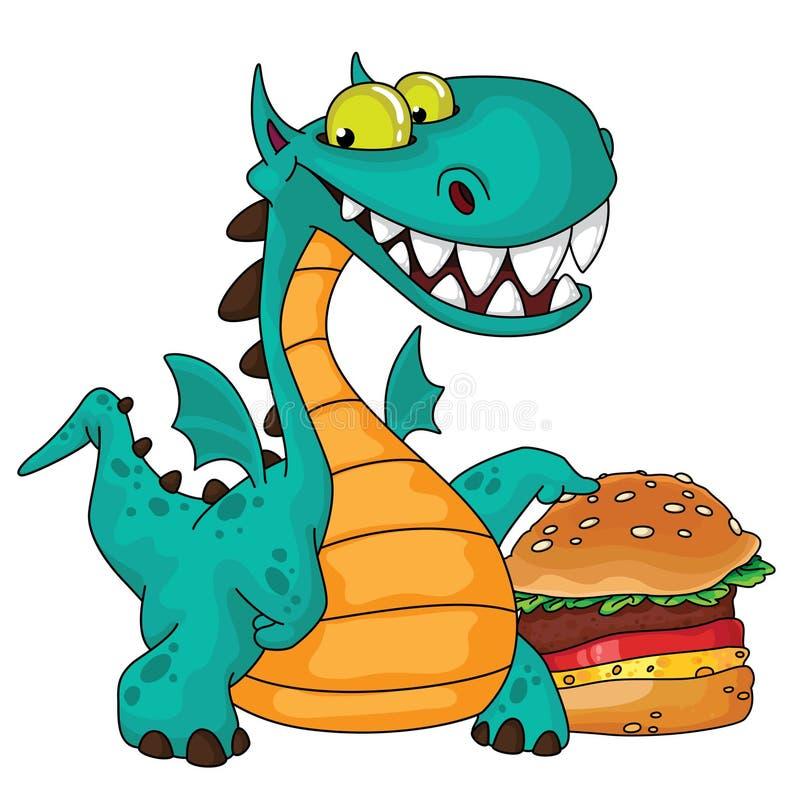 Grandes dragão e hamburguer ilustração stock