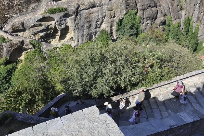 Grandes escadas do monastério do meteoro de Meteora de Kalambaka em Grécia imagem de stock royalty free