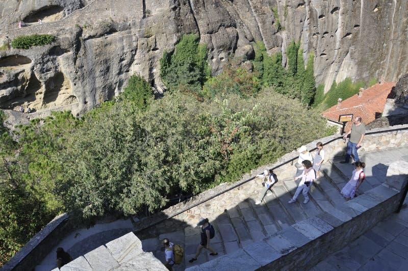 Grandes escadas do monastério do meteoro de Meteora de Kalambaka em Grécia fotos de stock