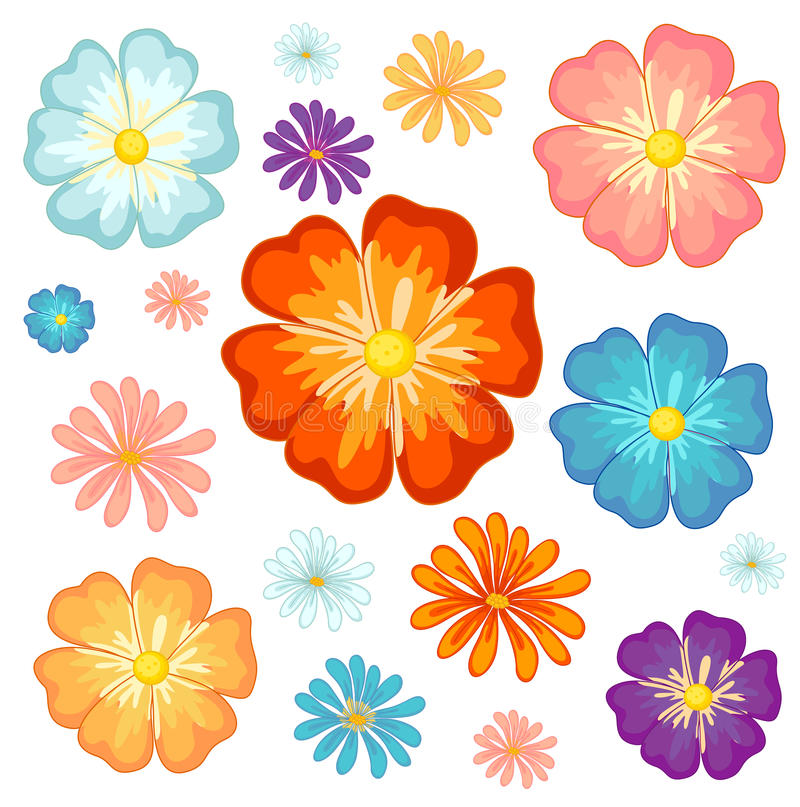 Grandes et petites fleurs illustration stock