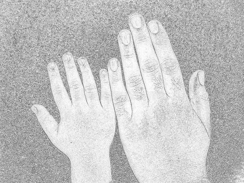 Grandes et petites mains images stock