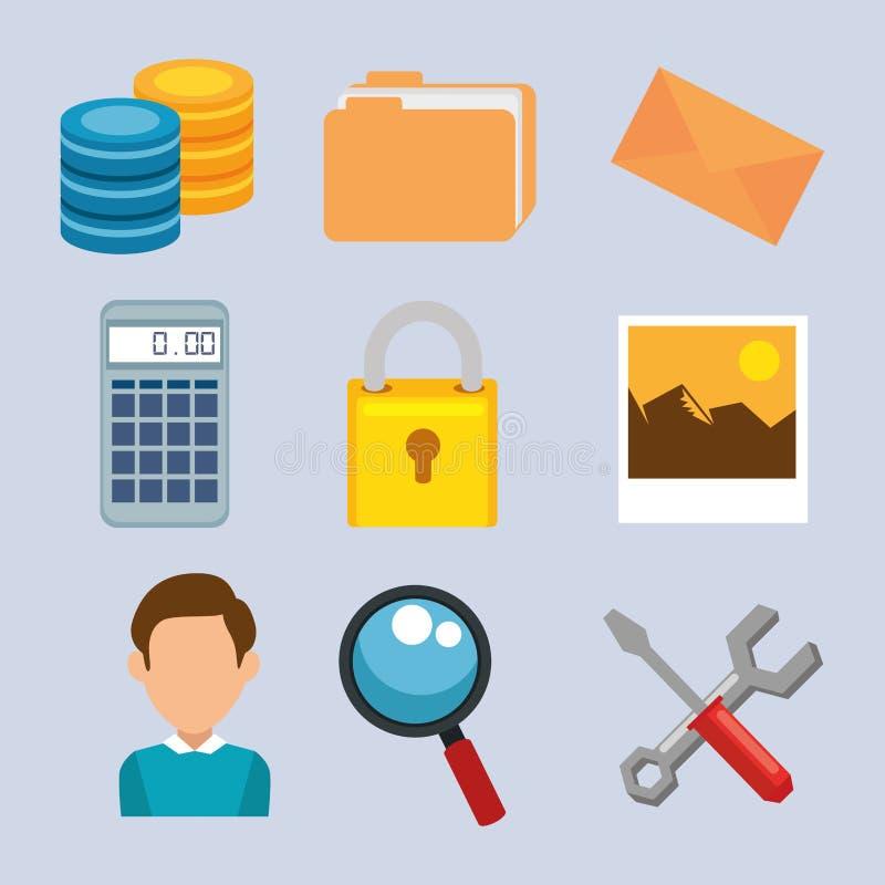 Grandes icônes d'ensemble de données illustration libre de droits
