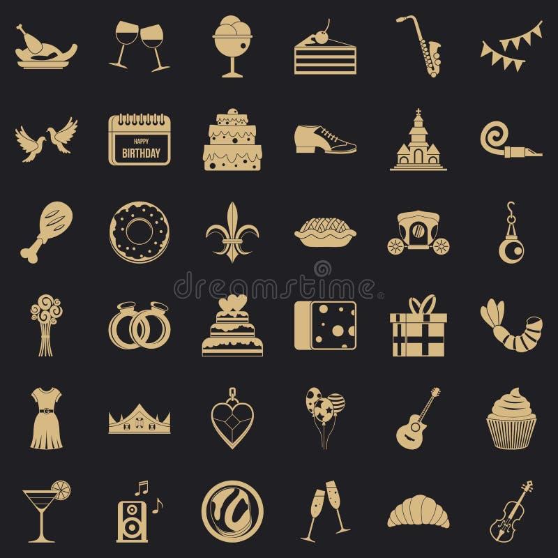 Grandes icônes de banquet réglées, style simple illustration stock