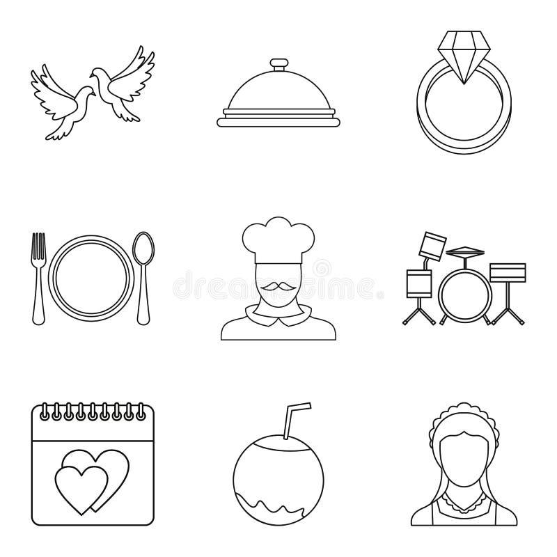 Grandes icônes de mariage réglées, style d'ensemble illustration stock