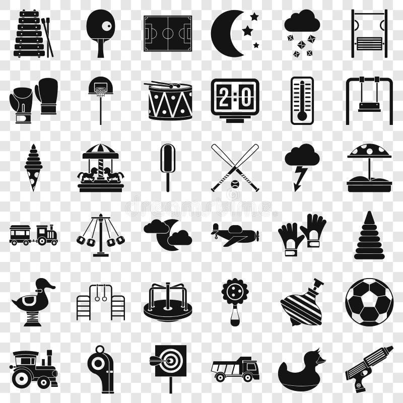 Grandes icônes de terrain de jeu réglées, style simple illustration de vecteur