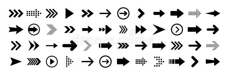 Grandes icônes réglées noires de flèches Icône de flèche Collection de vecteur de flèche flèche curseur Flèches simples modernes  illustration libre de droits