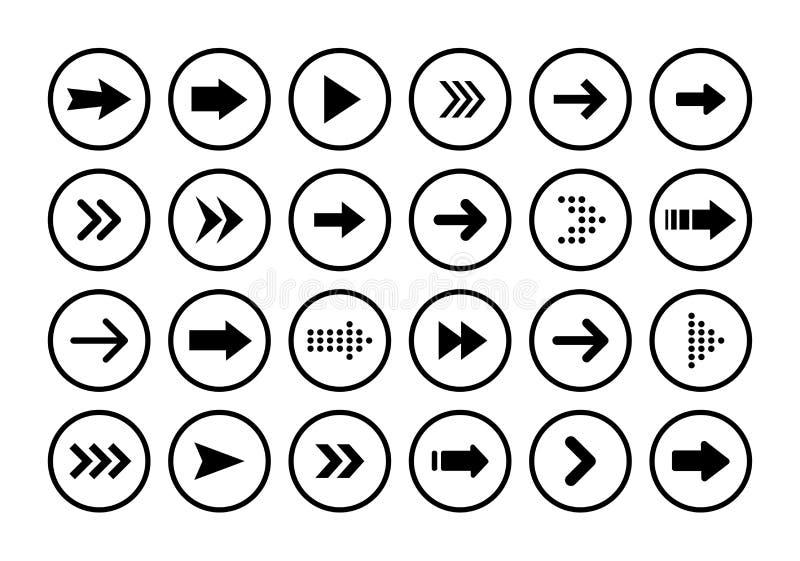 Grandes icônes réglées noires de flèches Icône de flèche Collection de vecteur de flèche flèche curseur Flèches simples modernes  illustration de vecteur
