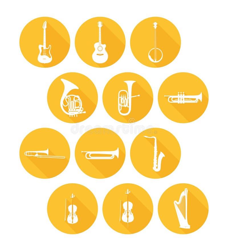 Grandes icônes d'ensemble des instruments de musique illustration stock
