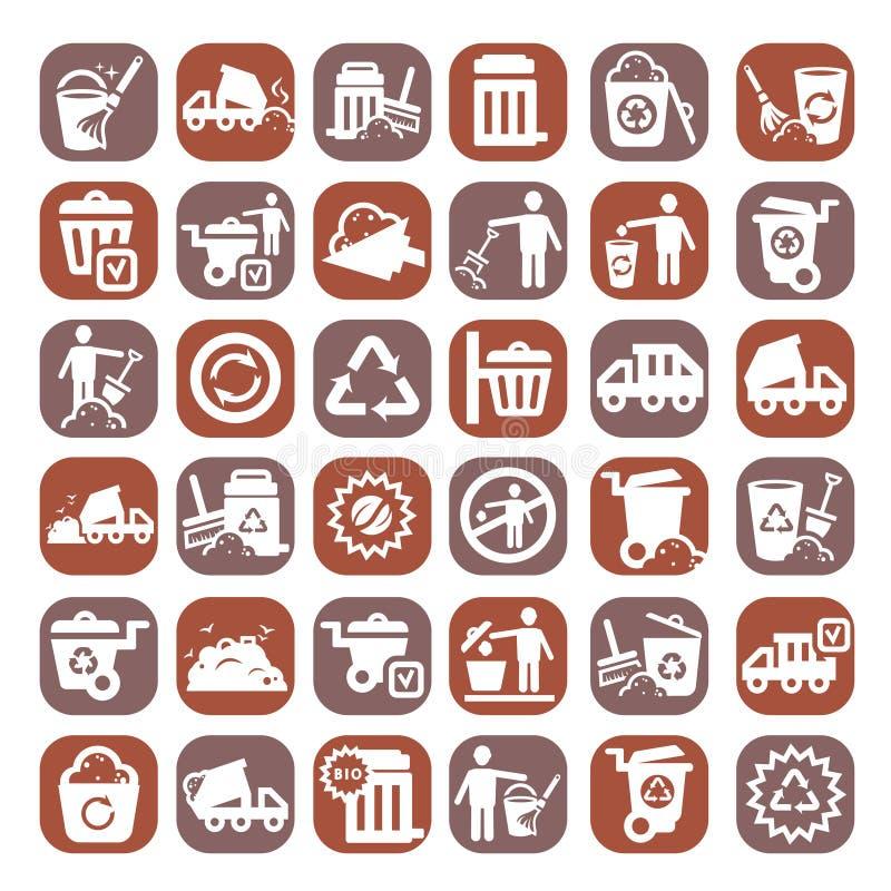 Grandes icônes de déchets de couleur illustration stock
