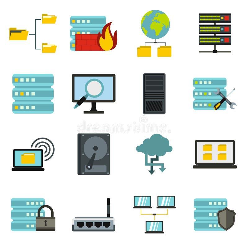 Grandes icônes de données réglées, style plat illustration stock