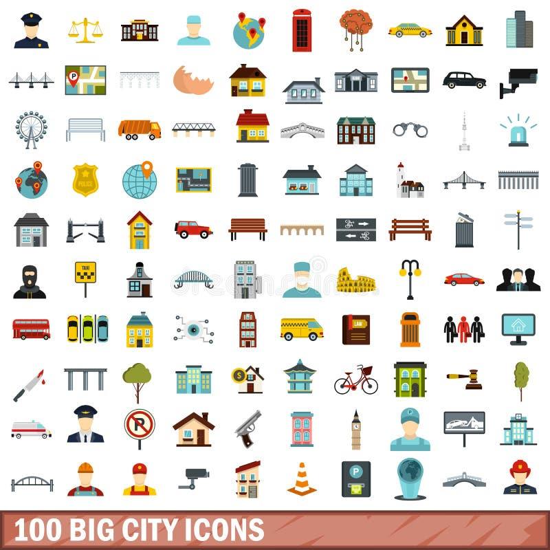 100 grandes icônes de ville réglées, style plat illustration de vecteur