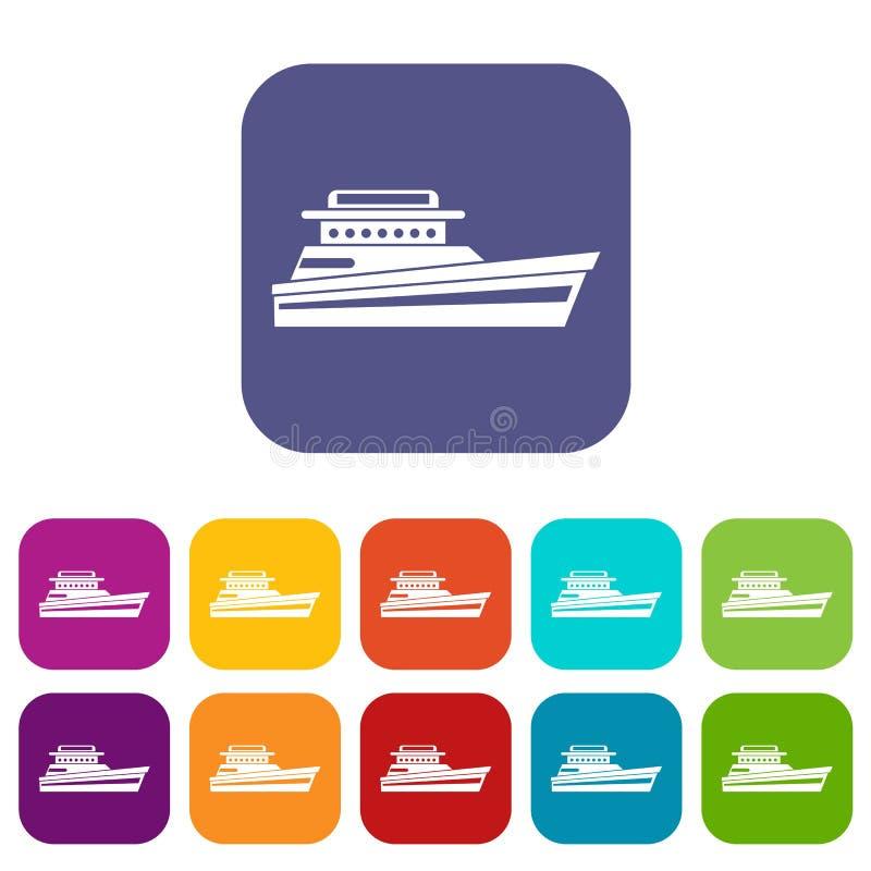 Grandes iconos del powerboat fijados libre illustration
