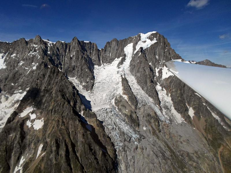 Grandes Jorasses. Aerial View from glider. Italian Alps stock photography