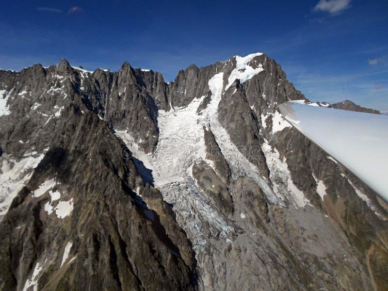 Grandes jorasses Widok Z Lotu Ptaka od szybowa Włoscy Alps fotografia stock