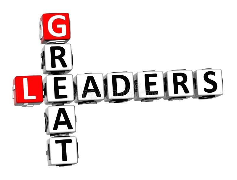 grandes líderes das palavras cruzadas 3D no fundo branco ilustração do vetor