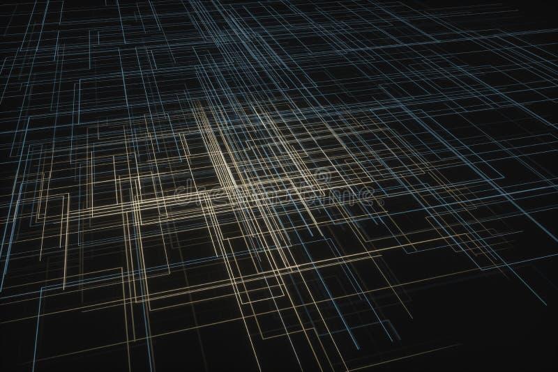 Grandes lignes de données rougeoyantes et fond technologique, rendu 3d illustration de vecteur