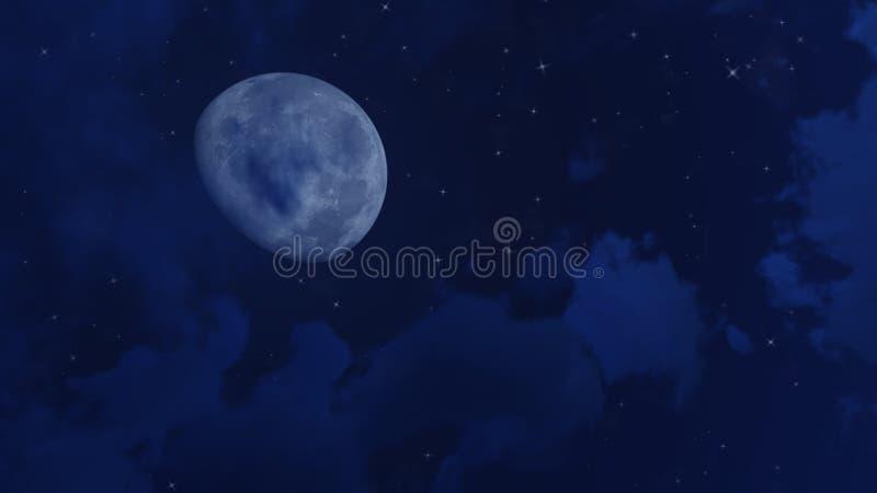Grandes lune et étoiles en ciel nocturne illustration de vecteur