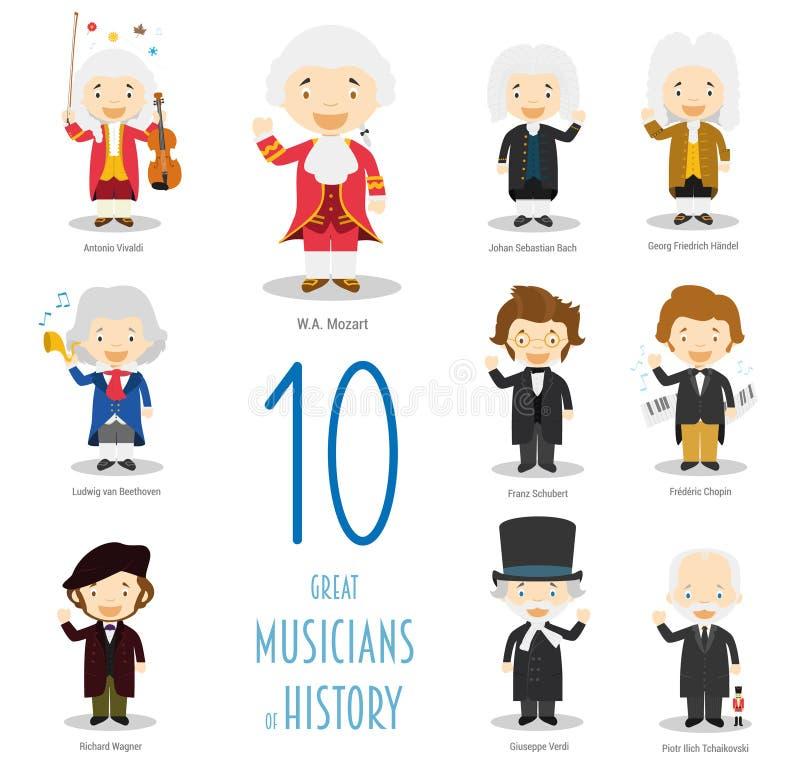 10 grandes músicos da história no estilo dos desenhos animados ilustração do vetor