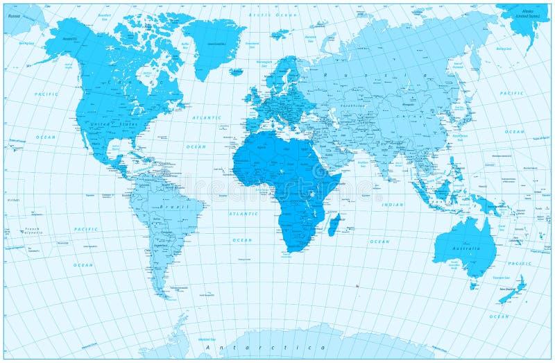 Grandes mapa do mundo e continentes detalhados nas cores do azul ilustração royalty free