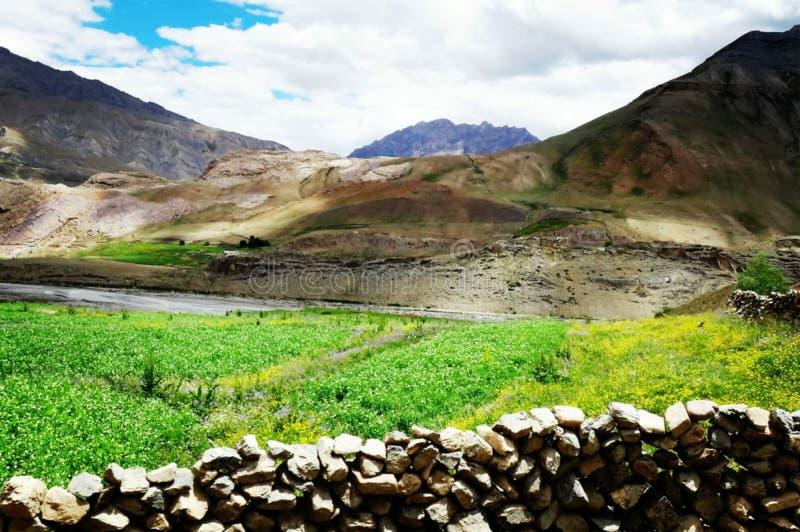 Grandes montagnes fumeuses avec la terre photos libres de droits