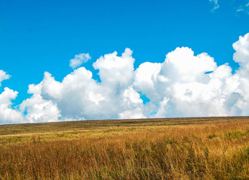 Grandes nuvens e campo fotografia de stock royalty free