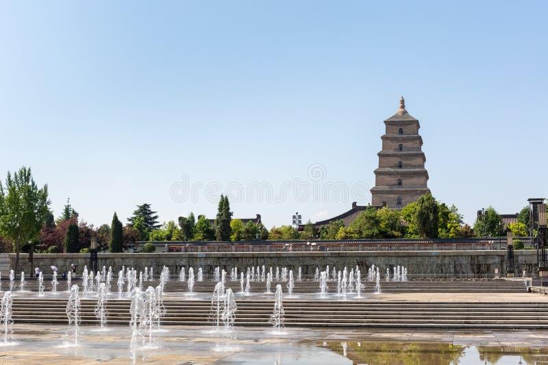 Grandes pagoda d'oie et place sauvages de fontaine images stock