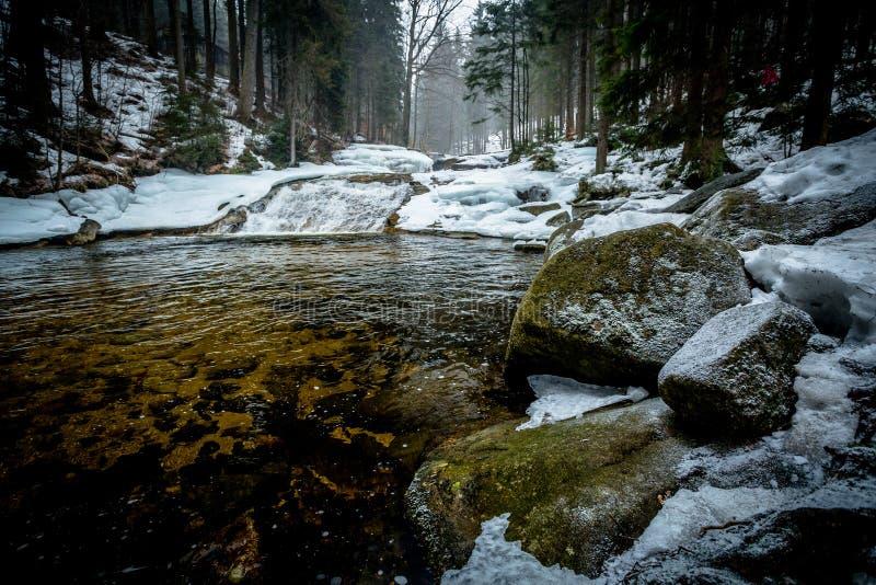 Grandes pedregulhos nevado nos bancos do rio de Mumlava imagem de stock royalty free