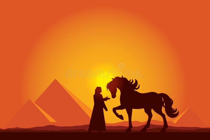 Grandes pirámides de Egipto con la silueta del beduino y del caballo en el sol libre illustration