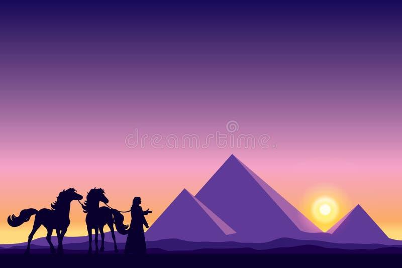 Grandes pirámides de Egipto con las siluetas del beduino y de los caballos en los soles libre illustration