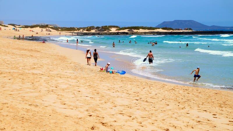 Grandes Playas strand nära Corralejo, Fuerteventura, Spanien arkivbild