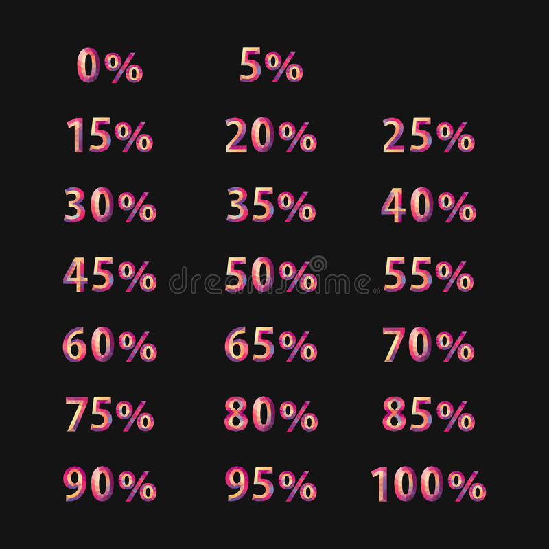 Grandes por cento poligonais dos números do grupo de cor completa para discontos e ilustração stock